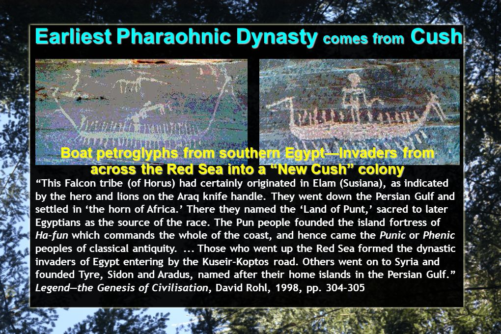 "Earliest Pharaohnic Dynasty comes from Cush ""This Falcon tribe (of Horus) had certainly originated in Elam (Susiana), as indicated by the hero and lio"