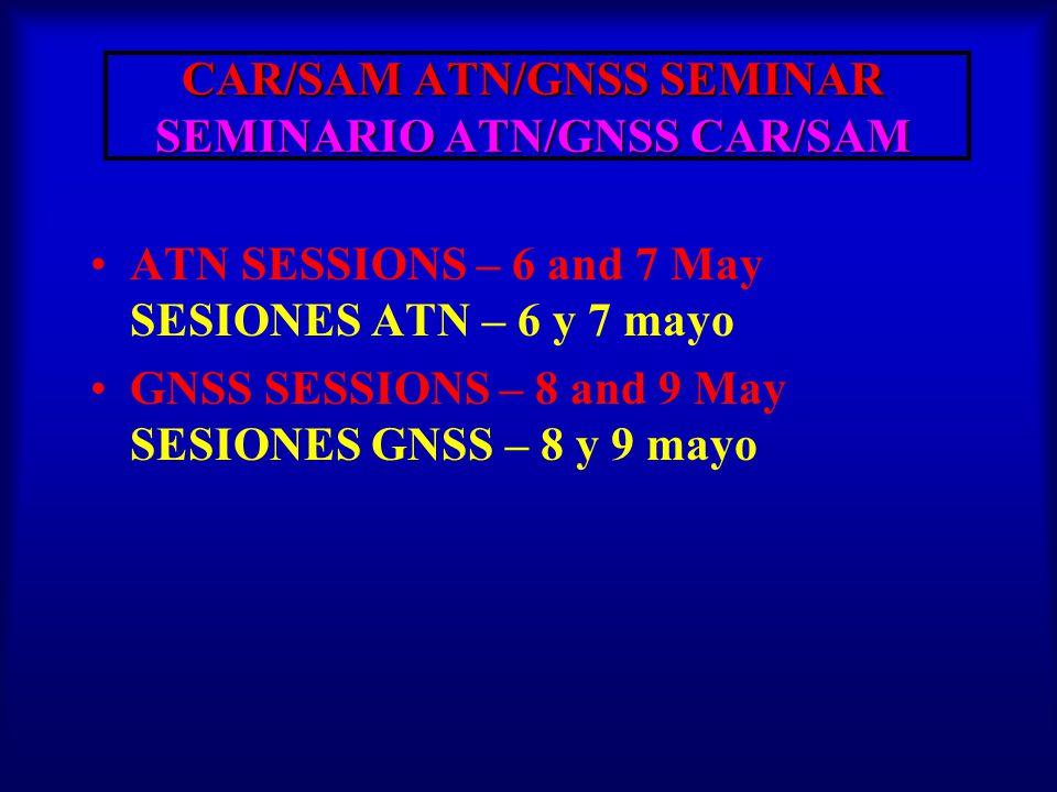 CAR/SAM ATN/GNSS SEMINAR SEMINARIO ATN/GNSS CAR/SAM CAR/SAM ATN/GNSS SEMINAR SEMINARIO ATN/GNSS CAR/SAM TUESDAY, WEDNESDAY, AND THURSDAY Time Item / Activity Speaker 08:30-09:05 09:05-09:40 09:00– 09:35 09:35– 10:10 + 30 min.