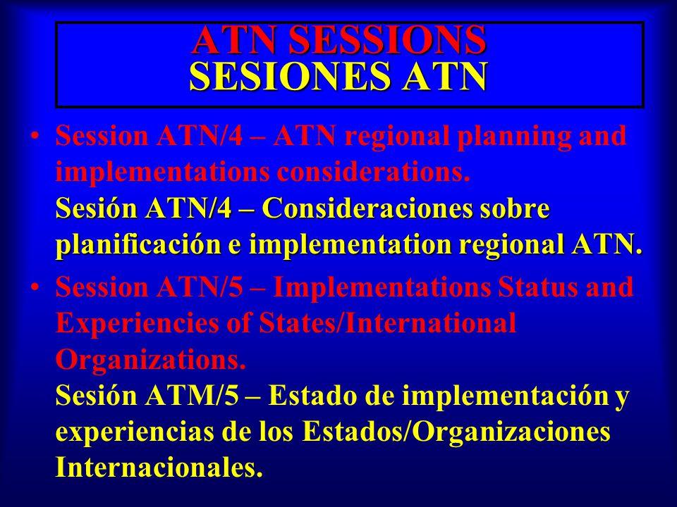 ATN SESSIONS SESIONES ATN Sesión ATN/4 – Consideraciones sobre planificación e implementation regional ATN.Session ATN/4 – ATN regional planning and implementations considerations.