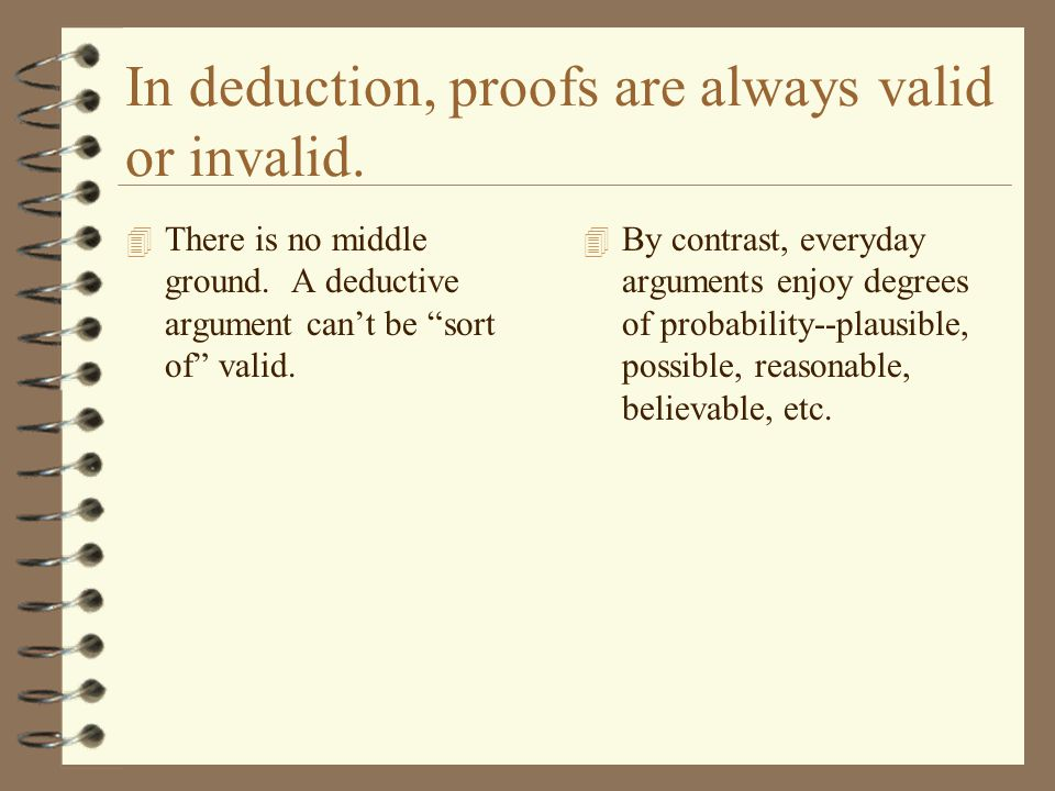 "In deduction, proofs are always valid or invalid. 4 There is no middle ground. A deductive argument can't be ""sort of"" valid. 4 By contrast, everyday"