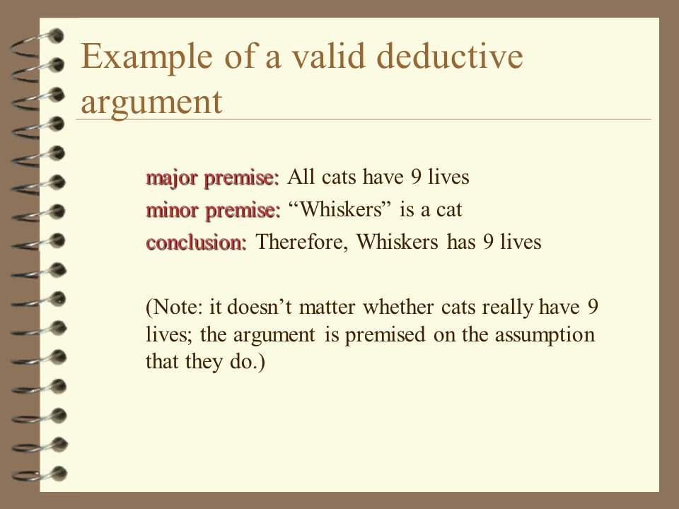 Validity versus Soundness valid 4 An argument is valid if its structure conforms to the rules of formal logic.