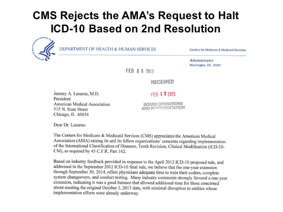 CMS Rejects the AMA's Request to Halt ICD-10 Based on 2nd Resolution