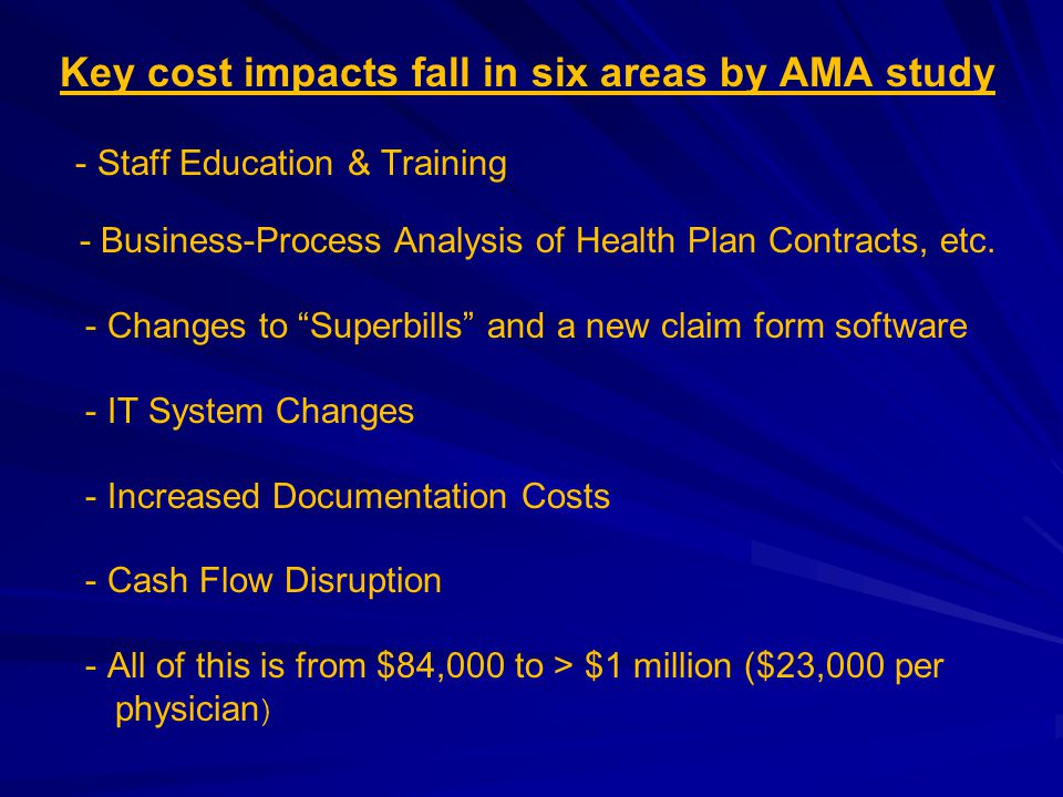 """Key cost impacts fall in six areas by AMA study - Staff Education & Training - Business-Process Analysis of Health Plan Contracts, etc. - Changes to """""""