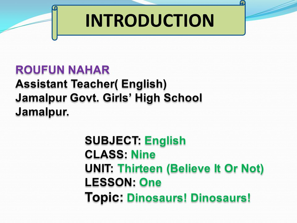 ROUFUN NAHAR Assistant Teacher( English) Jamalpur Govt.
