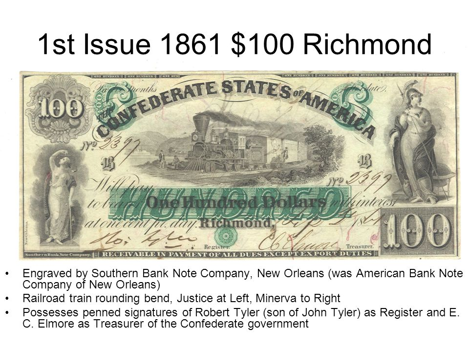 1st Issue 1861 $100 Richmond Engraved by Southern Bank Note Company, New Orleans (was American Bank Note Company of New Orleans) Railroad train roundi