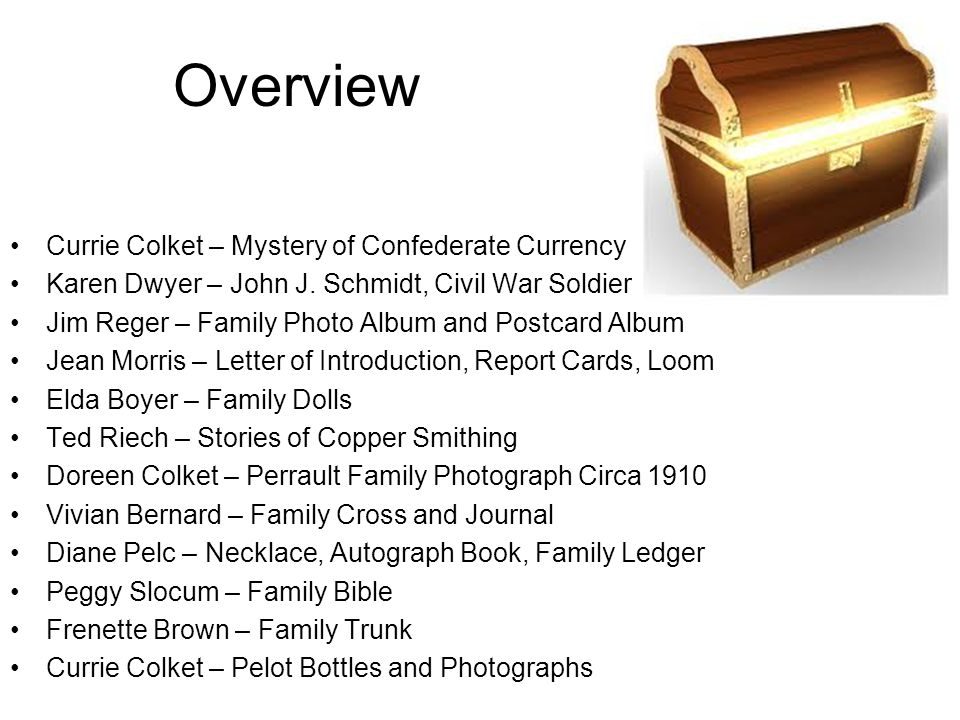 Overview Currie Colket – Mystery of Confederate Currency Karen Dwyer – John J. Schmidt, Civil War Soldier Jim Reger – Family Photo Album and Postcard
