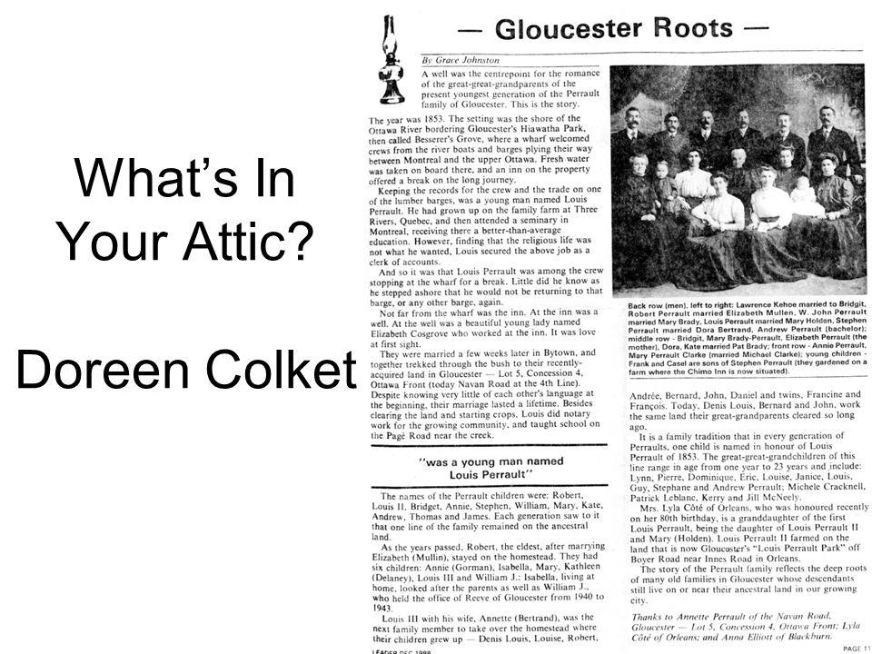 What's In Your Attic? Doreen Colket