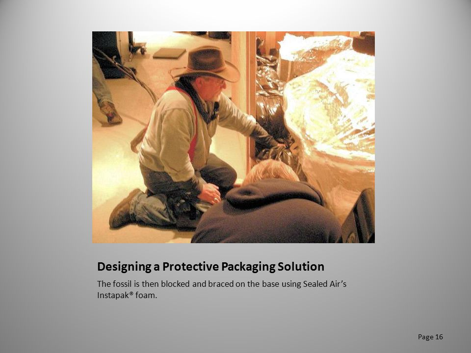 Designing a Protective Packaging Solution The fossil is then blocked and braced on the base using Sealed Air's Instapak® foam. Page 16
