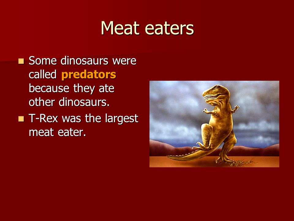Meat eaters Some dinosaurs were called predators because they ate other dinosaurs.