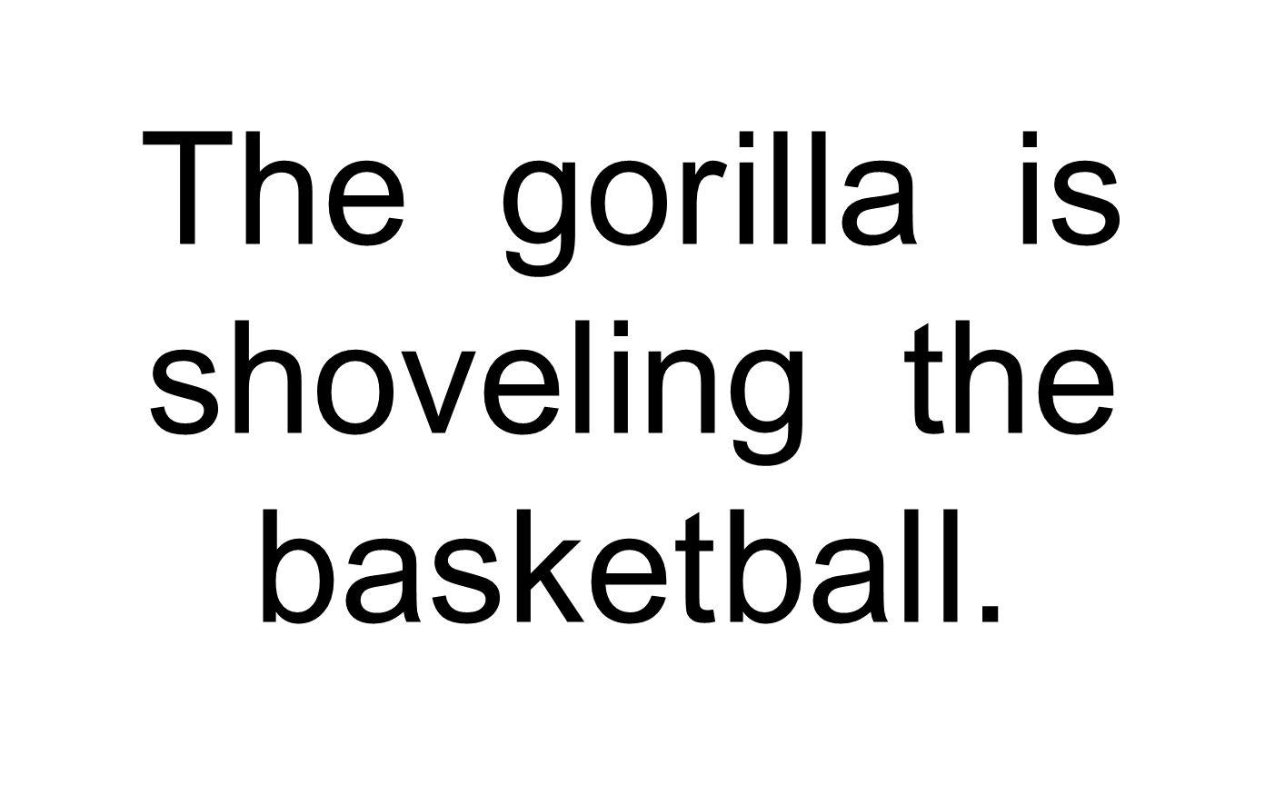The gor il la is shovel ing the basket bal l.