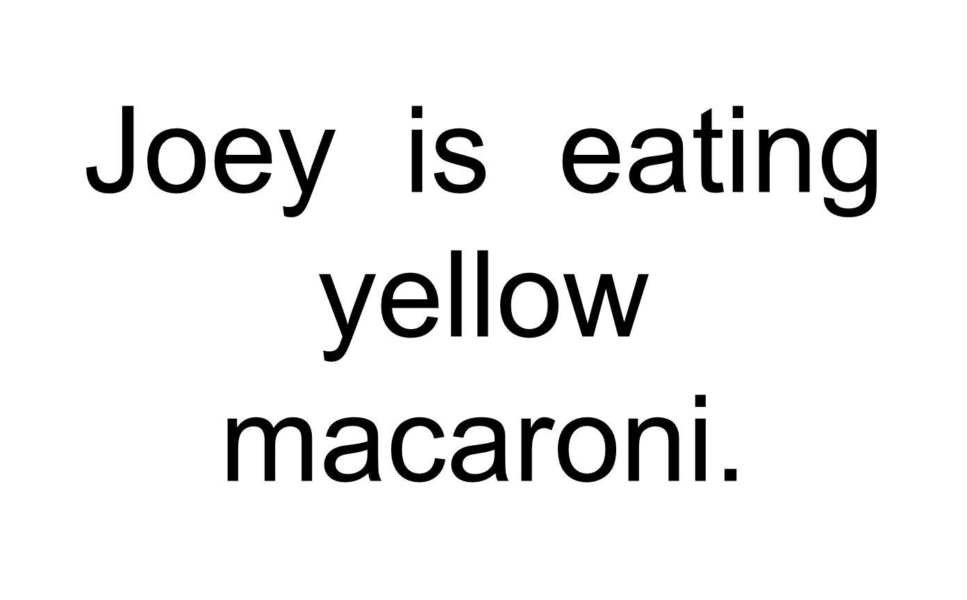 Joey is eating yellow macaroni.
