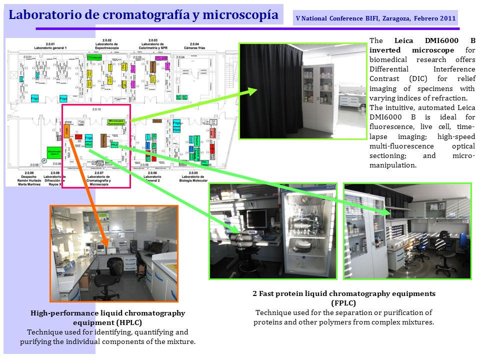 V National Conference BIFI, Zaragoza, Febrero 2011 Laboratorio de cromatografía y microscopía The Leica DMI6000 B inverted microscope for biomedical research offers Differential Interference Contrast (DIC) for relief imaging of specimens with varying indices of refraction.