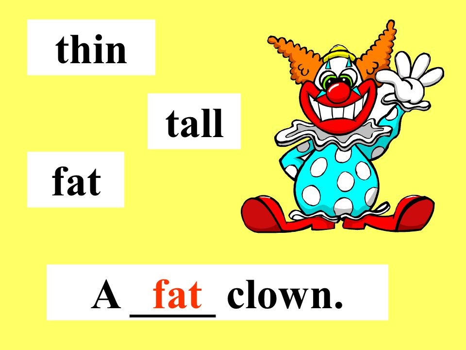 thin tall fat A ____ clown.fat