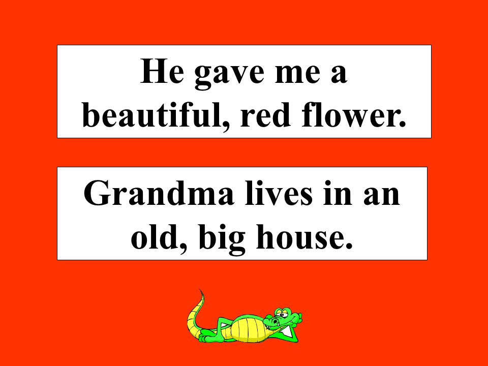 He gave me a beautiful, red flower. Grandma lives in an old, big house.