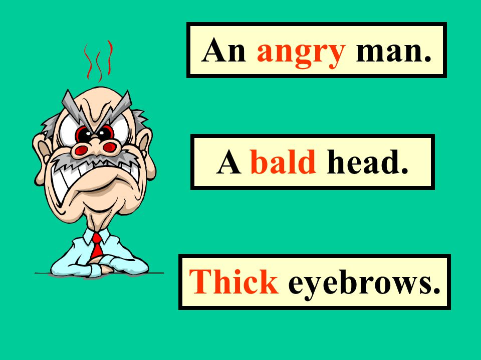 The words angry, bald and thick, describe the face in the picture. They are called Adjectives.