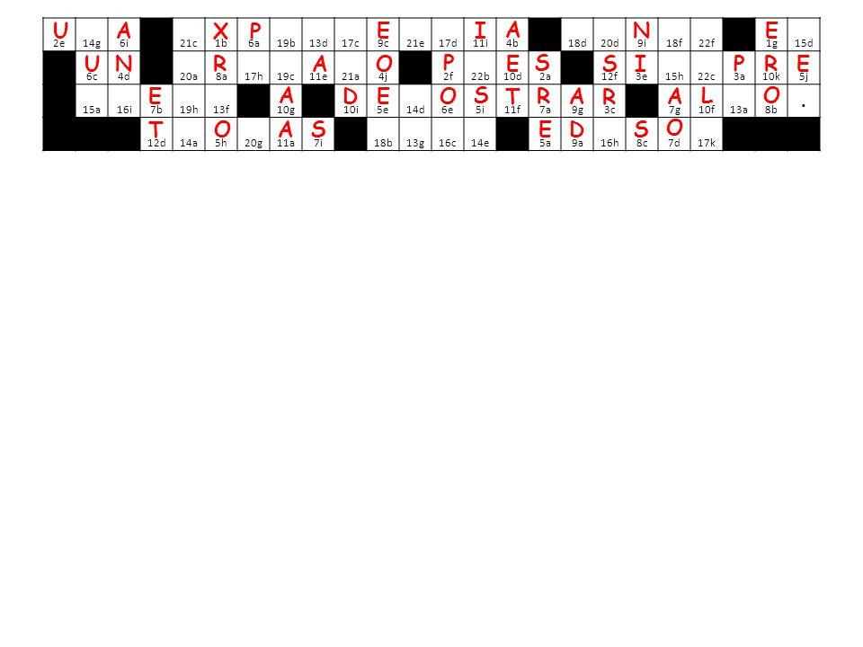 2e 14g 6i 21c 1b 6a 19b 13d 17c 9c 21e 17d 11i 4b 18d 20d 9i 18f 22f 1g 15d 6c 4d 20a 8a 17h 19c 11e 21a 4j 2f 22b 10d 2a 12f 3e 15h 22c 3a 10k 5j 15a 16i 7b 19h 13f 10g 10i 5e 14d 6e 5i 11f 7a 9g 3c 7g 10f 13a 8b.