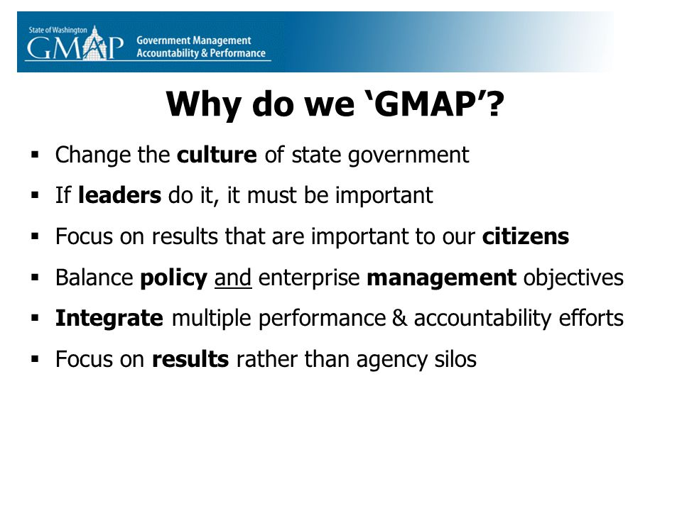 Why do we 'GMAP'.