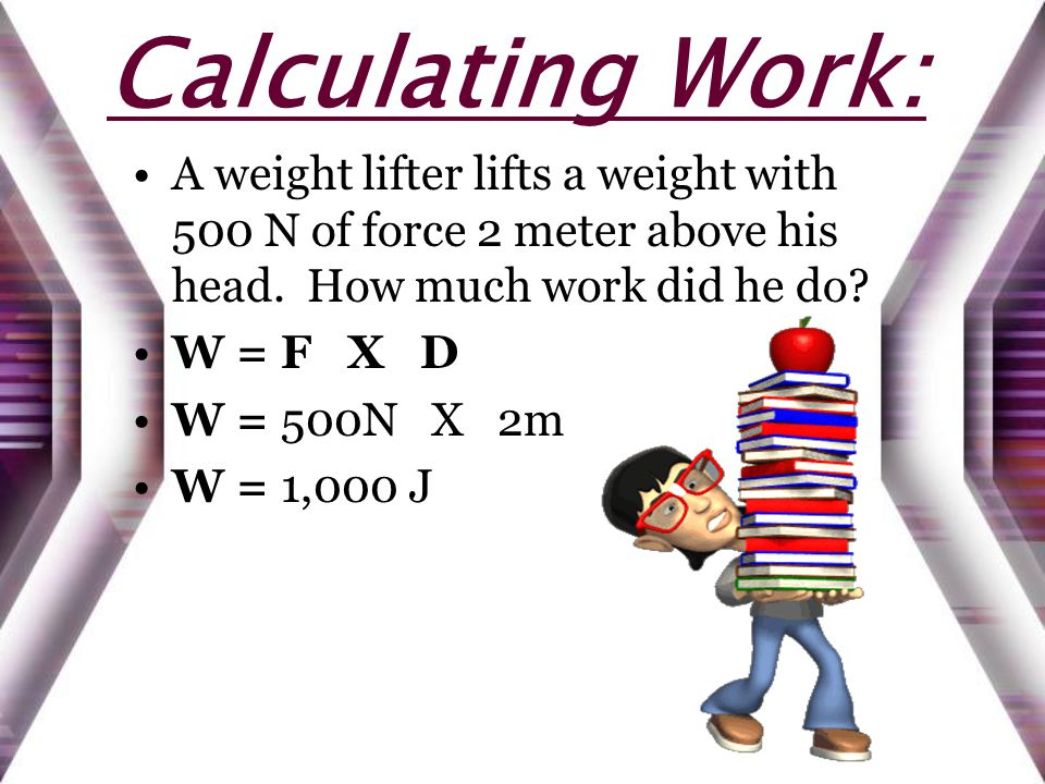 Calculating Work: A weight lifter lifts a weight with 500 N of force 2 meter above his head.