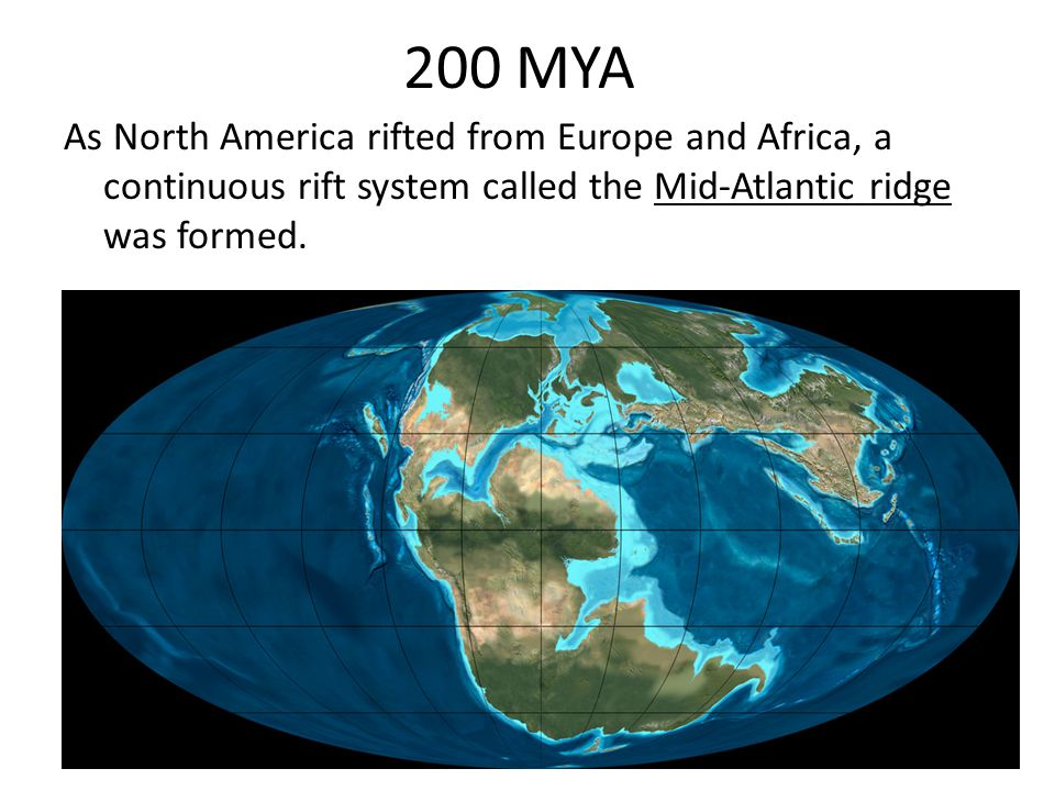 200 MYA As North America rifted from Europe and Africa, a continuous rift system called the Mid-Atlantic ridge was formed.