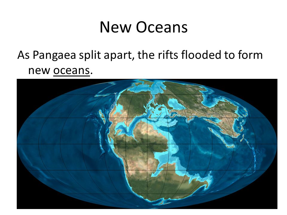 New Oceans As Pangaea split apart, the rifts flooded to form new oceans.