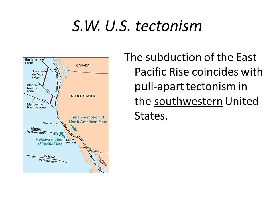 S.W. U.S. tectonism The subduction of the East Pacific Rise coincides with pull-apart tectonism in the southwestern United States.