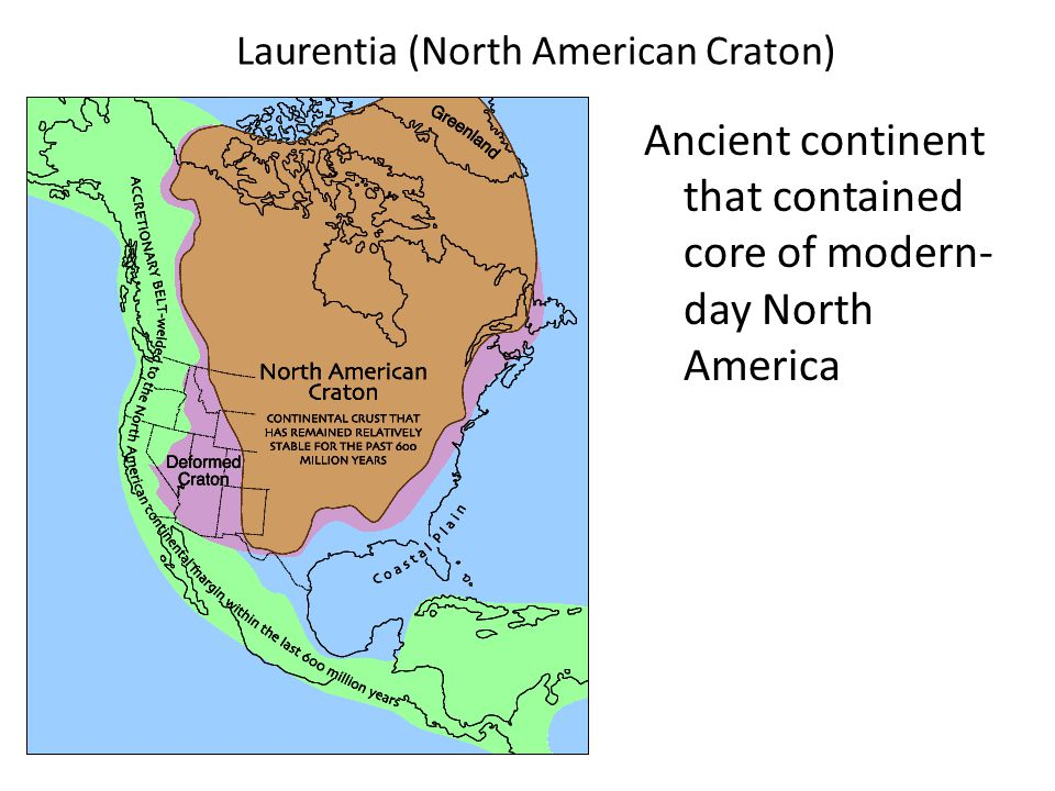 Laurentia (North American Craton) Ancient continent that contained core of modern- day North America