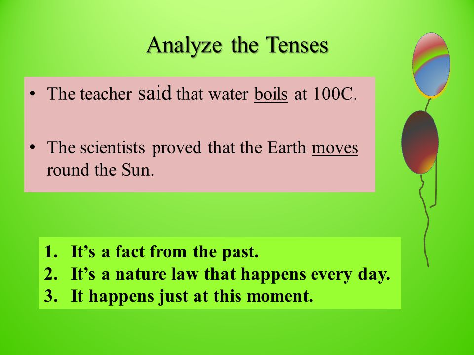 Analyze the Tenses The teacher said that water boils at 100C.