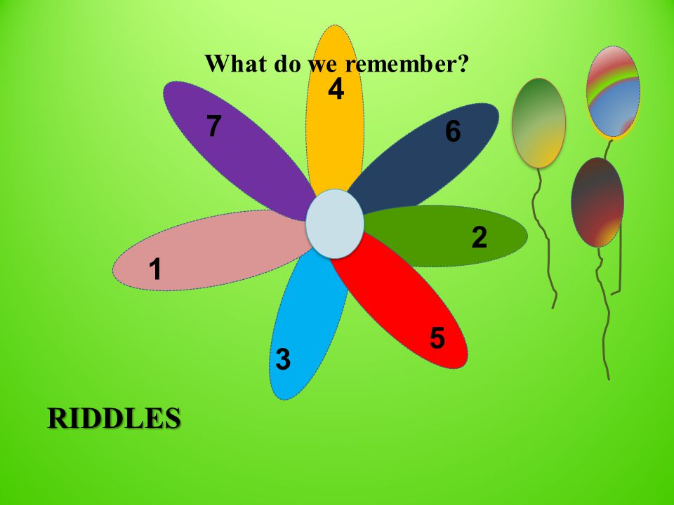 7 4 1 3 6 2 5 RIDDLES What do we remember