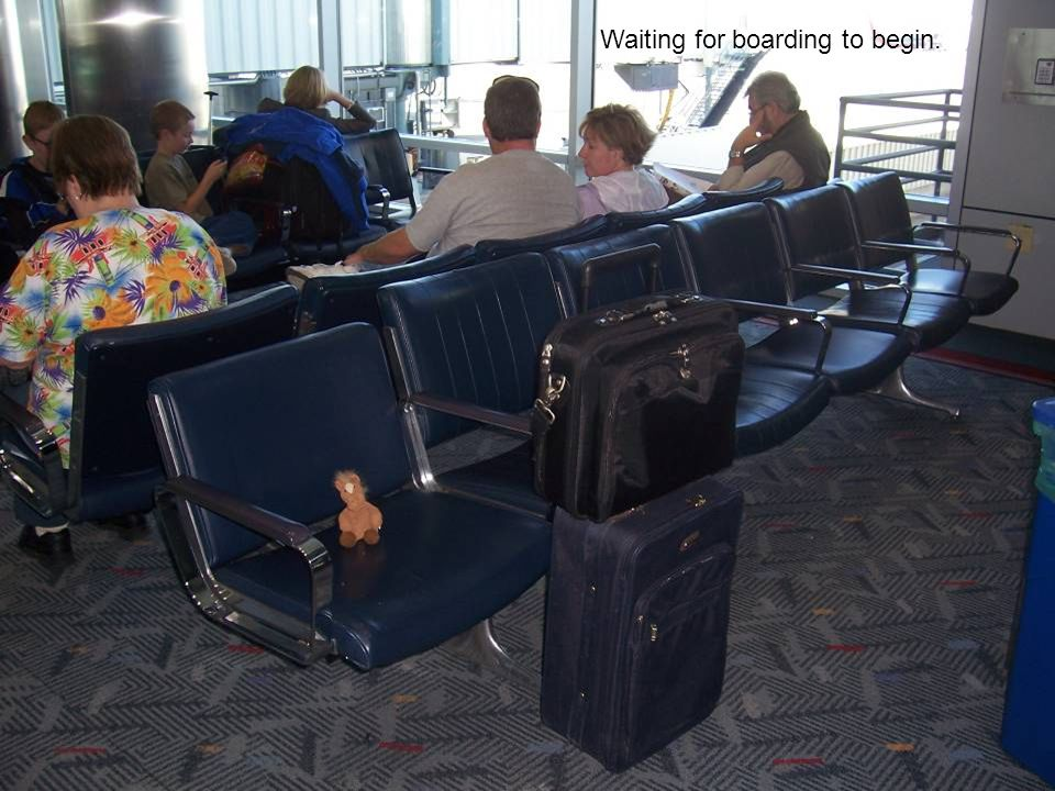 Waiting for boarding to begin.