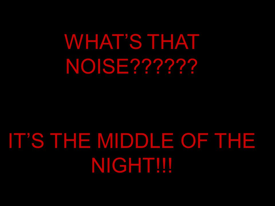 WHAT'S THAT NOISE?????? IT'S THE MIDDLE OF THE NIGHT!!!