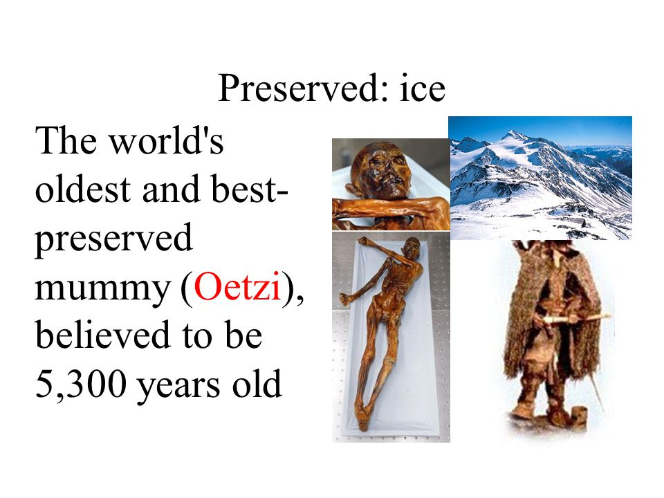 Preserved: ice The world s oldest and best- preserved mummy (Oetzi), believed to be 5,300 years old