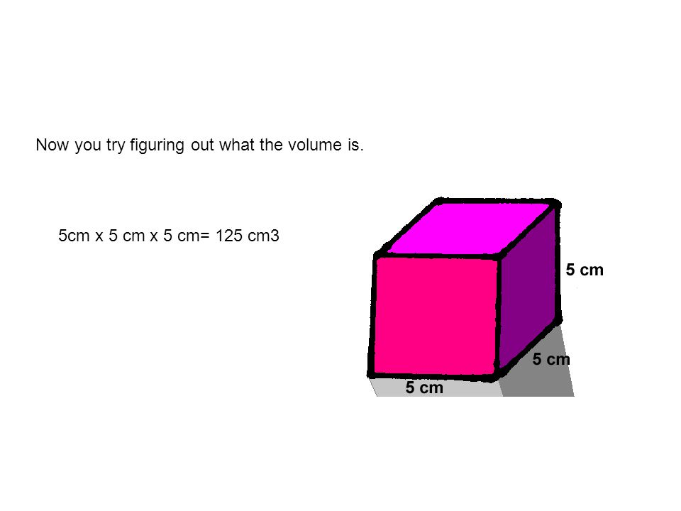Now you try figuring out what the volume is. 5cm x 5 cm x 5 cm= 125 cm3