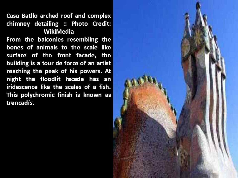 Casa Batllo arched roof and complex chimney detailing :: Photo Credit: WikiMedia From the balconies resembling the bones of animals to the scale like