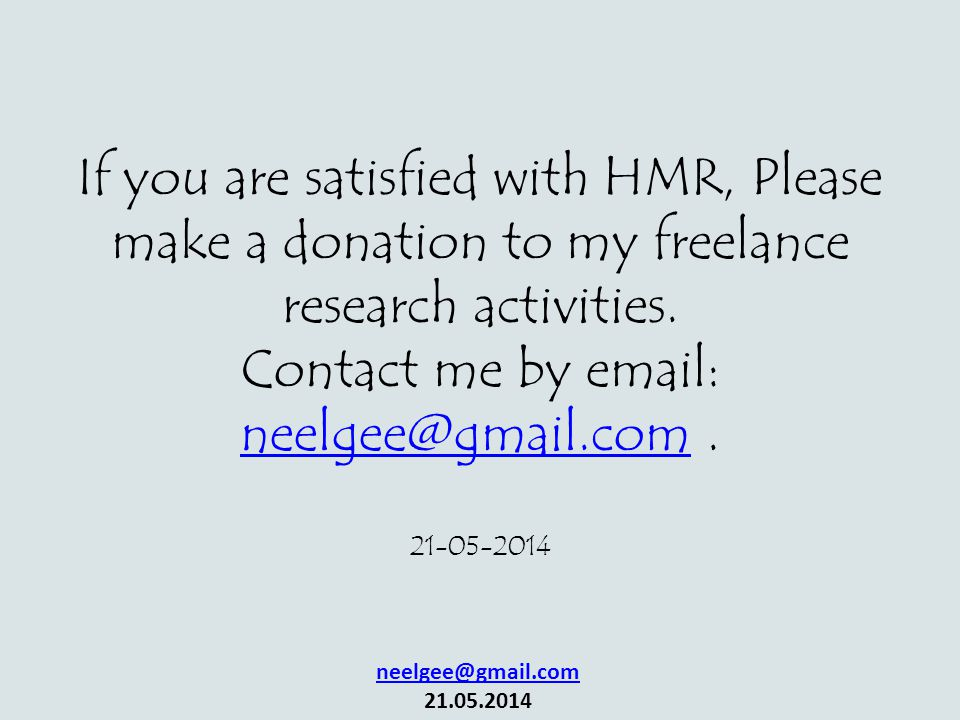 If you are satisfied with HMR, Please make a donation to my freelance research activities.