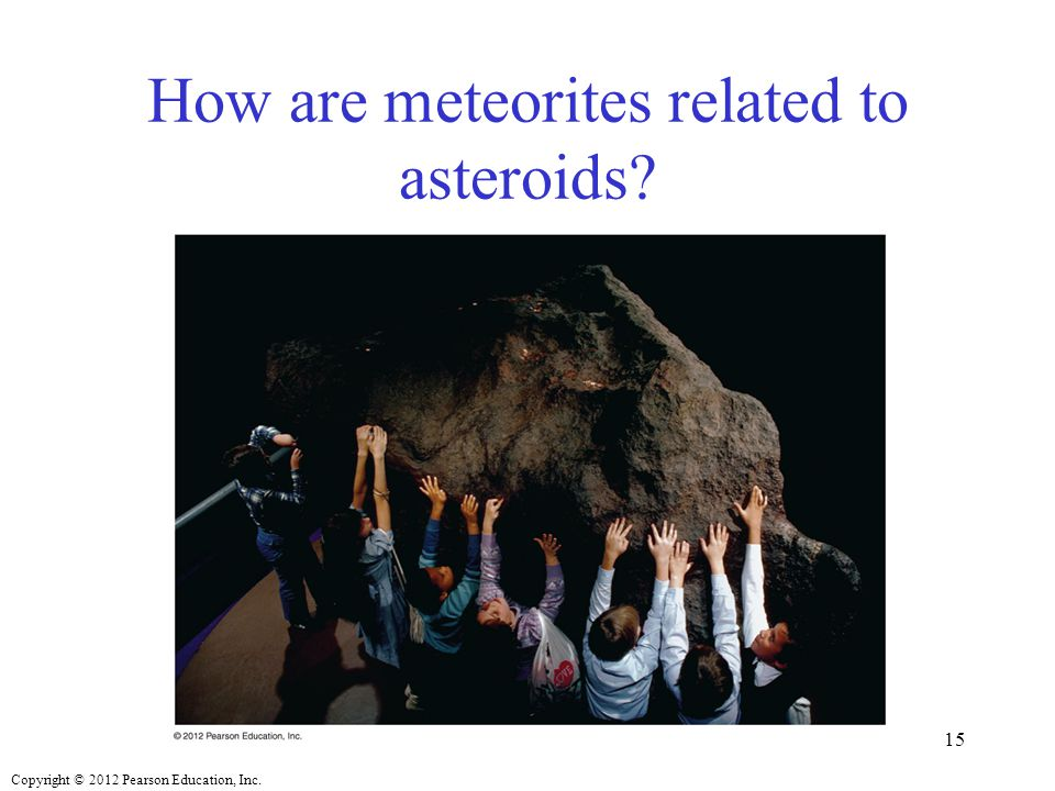 Copyright © 2012 Pearson Education, Inc. How are meteorites related to asteroids? 15