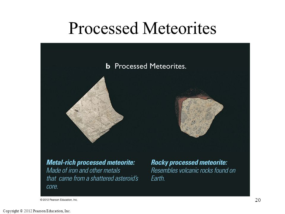 Copyright © 2012 Pearson Education, Inc. Processed Meteorites 20