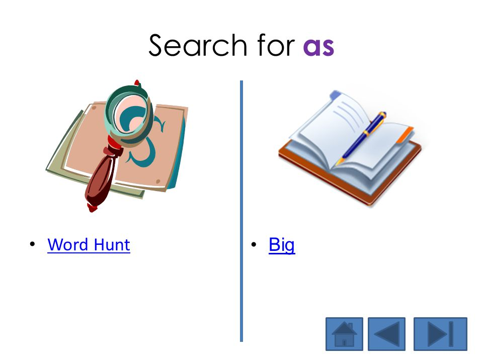 Search for as Word Hunt Big