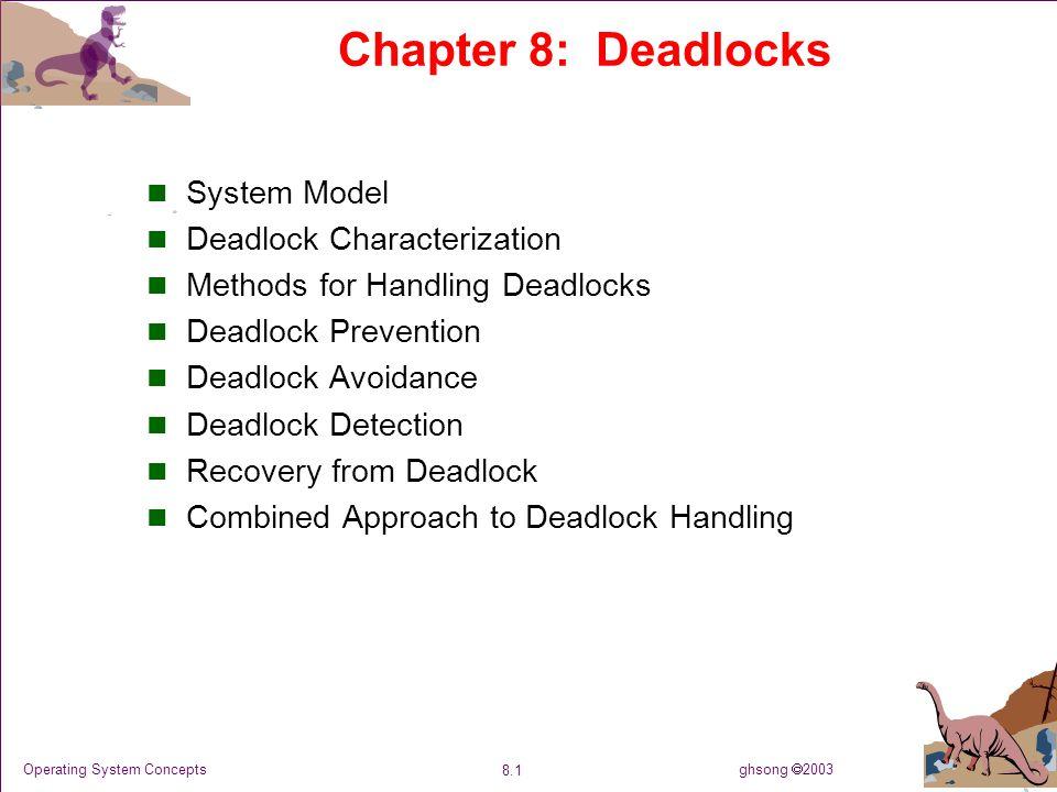 ghsong  2003 8.42 Operating System Concepts 习题 P268 , 8.9 : n 个进程, 1 类资源,资源数 m ,进程一次只 申请 1 个资源,只释放 1 个资源,系统满足: 1<=Max i <=m 证明不会发生死锁 证:因为 如果系统死锁,则: 因此,至少存在一个进程 Pi, Needi=0, 矛盾,故系统不会 死锁