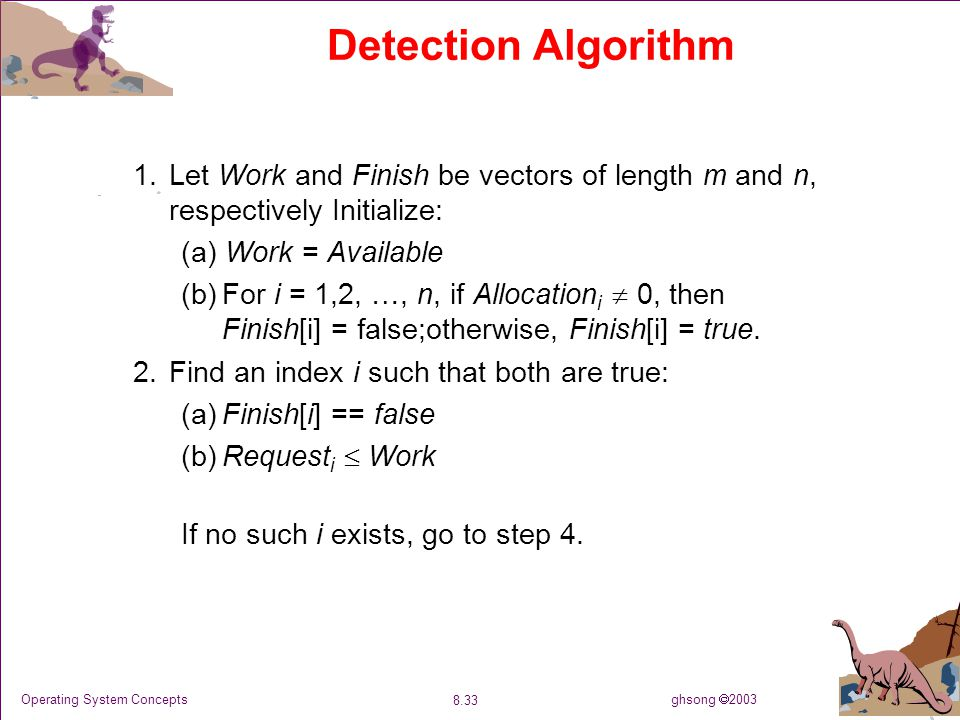 ghsong  2003 8.33 Operating System Concepts Detection Algorithm 1.Let Work and Finish be vectors of length m and n, respectively Initialize: (a) Work = Available (b)For i = 1,2, …, n, if Allocation i  0, then Finish[i] = false;otherwise, Finish[i] = true.