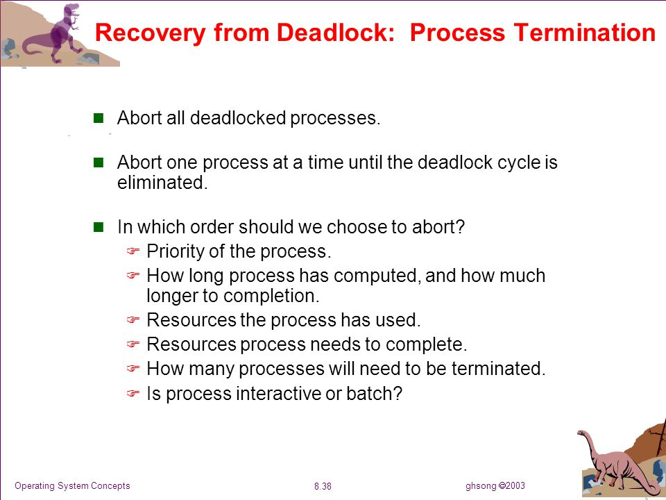 ghsong  2003 8.38 Operating System Concepts Recovery from Deadlock: Process Termination Abort all deadlocked processes. Abort one process at a time u
