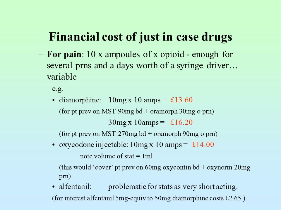 Financial cost of just in case drugs –For pain: 10 x ampoules of x opioid - enough for several prns and a days worth of a syringe driver… variable e.g