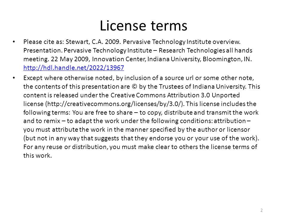 License terms Please cite as: Stewart, C.A. 2009.