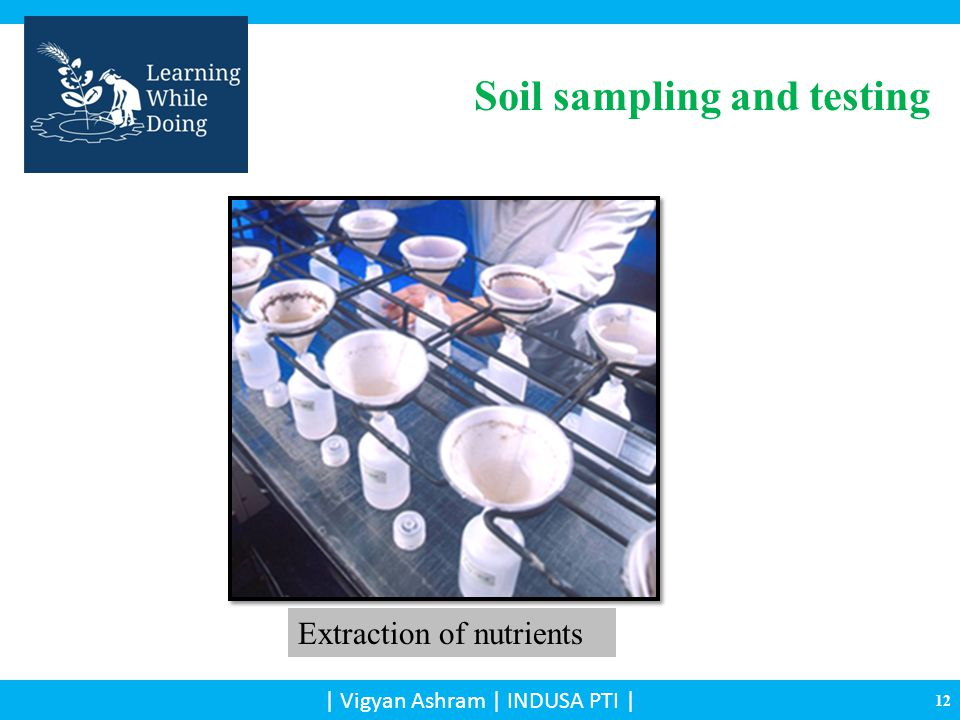 Extraction of nutrients Soil sampling and testing 12