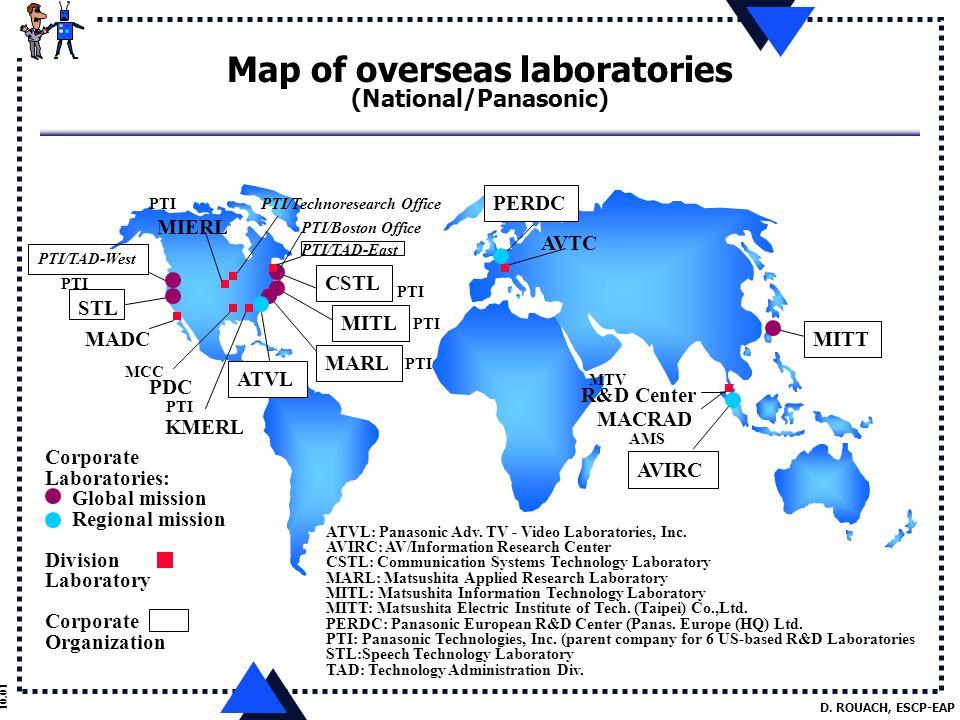 D. ROUACH, ESCP-EAP 10.01 Map of overseas laboratories (National/Panasonic) PERDC AVTC AVIRC AMS MACRAD R&D Center MTV Corporate Laboratories: Global
