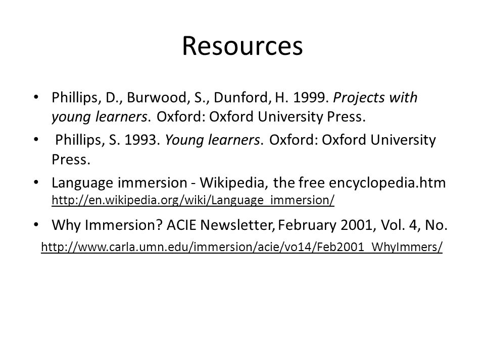 Resources Phillips, D., Burwood, S., Dunford, H. 1999.