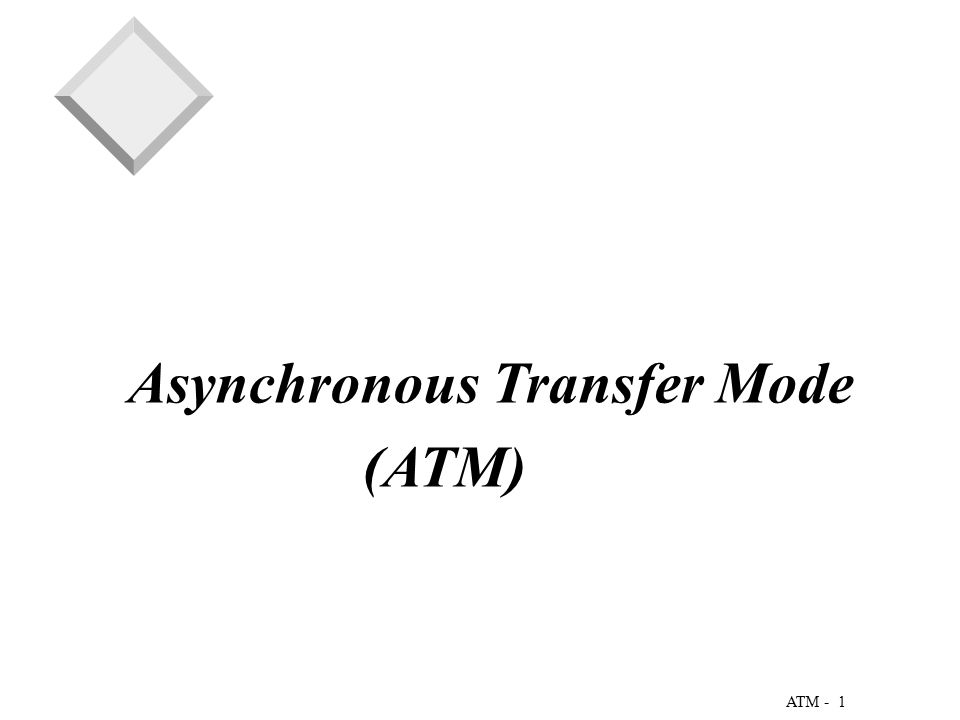 1 ATM - Asynchronous Transfer Mode (ATM)