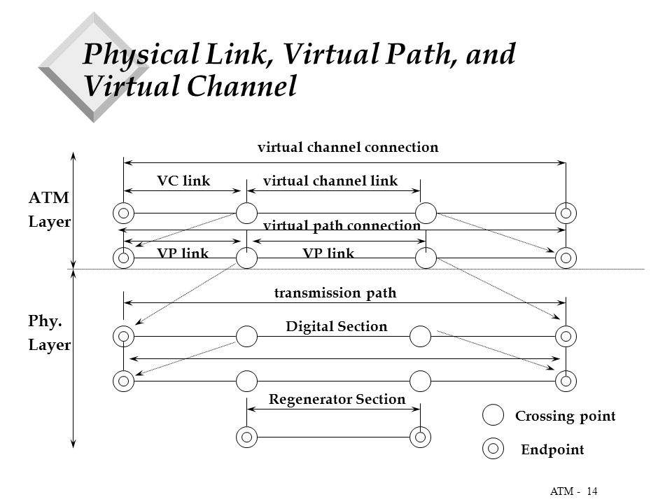 14 ATM - Physical Link, Virtual Path, and Virtual Channel ATM Layer Phy.