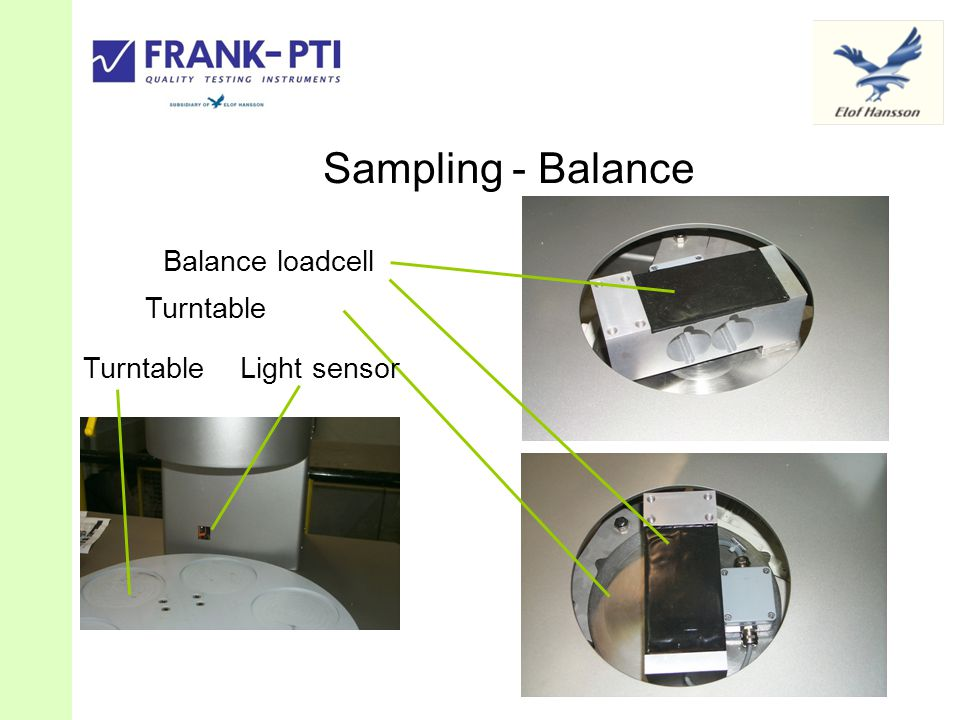 Sampling - Balance Balance loadcell Turntable Light sensor