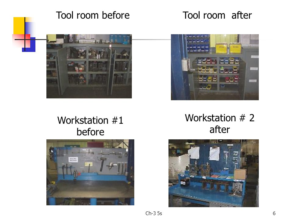 Ch-3 5s6 Tool room beforeTool room after Workstation #1 before Workstation # 2 after