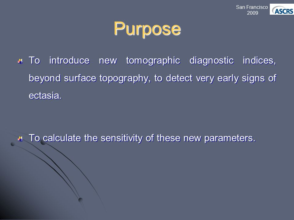 Purpose To introduce new tomographic diagnostic indices, beyond surface topography, to detect very early signs of ectasia.